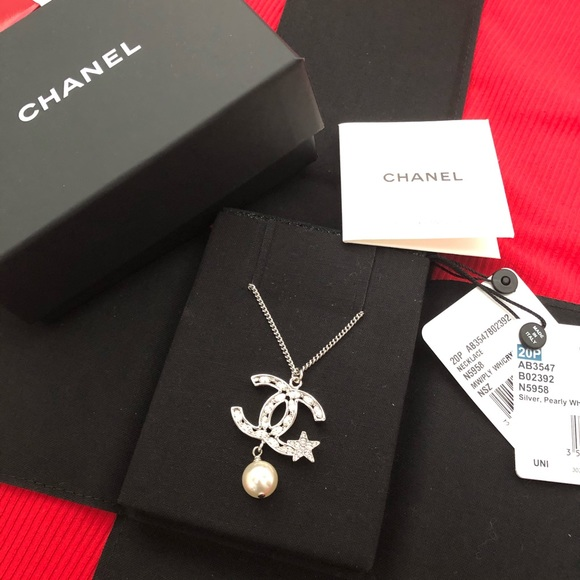 Chanel silver necklace with star